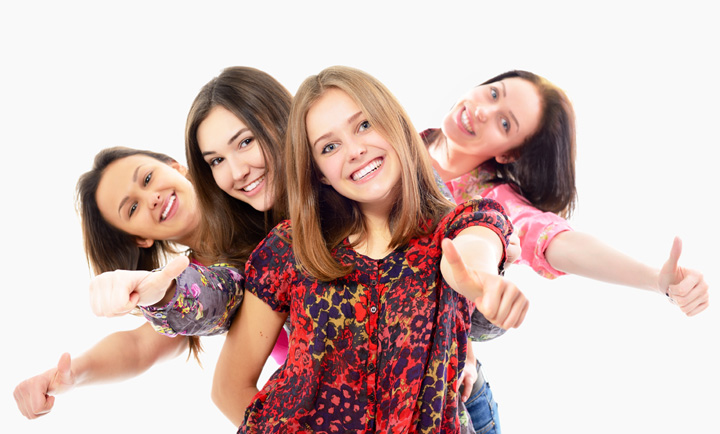group of happy teen girls